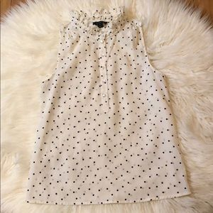 J. Crew sleeveless polka dot blouse sz4